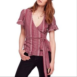 NWT Free People Women's Red Wine Wrap Top striped